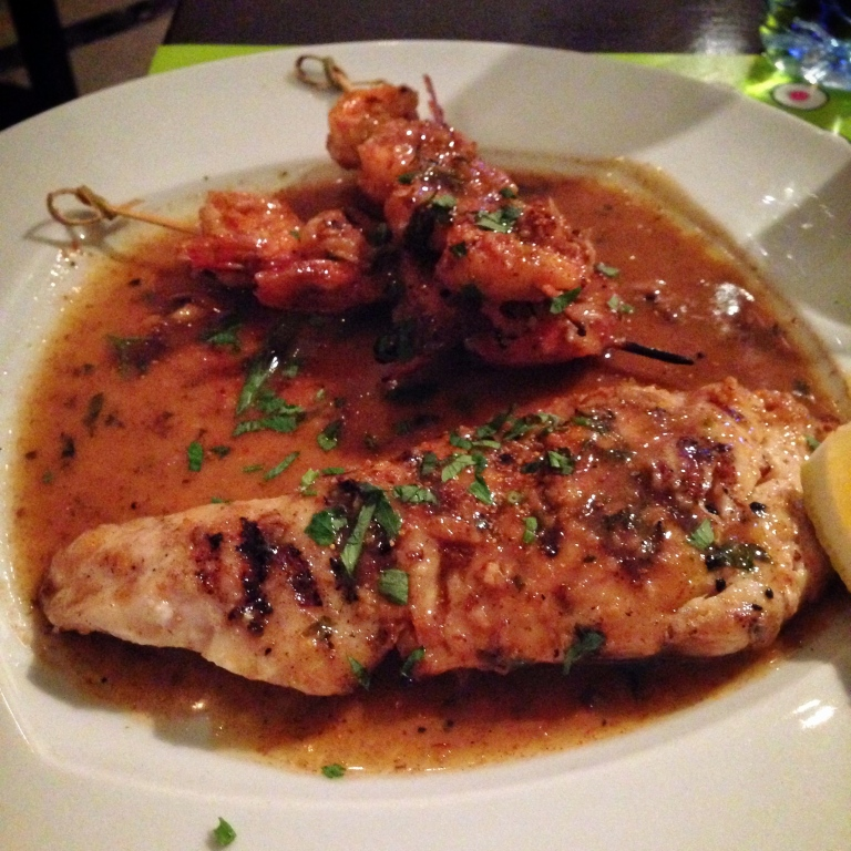 Grilled Hammour Fillet with Shrimp and a Lemon flavoured sauce.