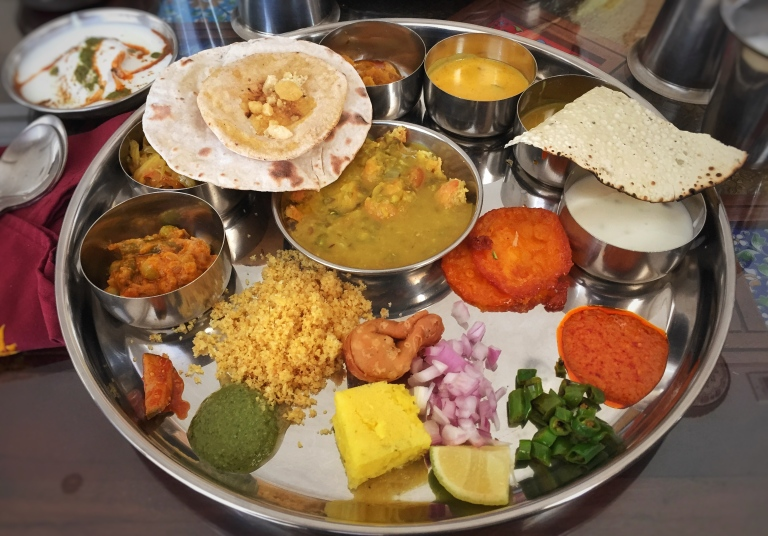 A traditional Rajashtani Thali meal (Vegetarian)