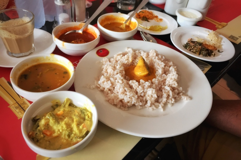 A typical Malabar lunch meal with Fish Curry