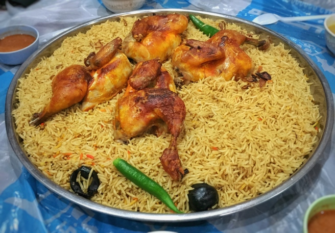 Roast Chicken on a bed of flavoured rice (Saudi Style)